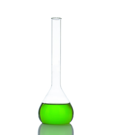 testtube: Test-tube with green liquid isolated on white