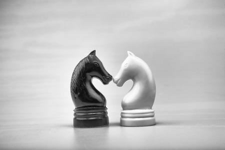 coincidir: Piezas de ajedrez de los caballos blancos y negros.