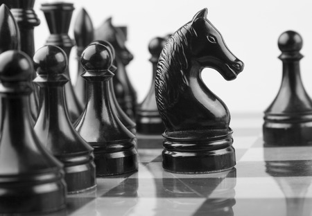 foresight: The Chess Black Horse atack. Stock Photo