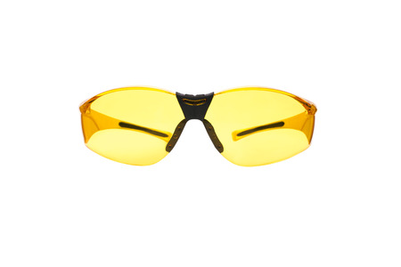 Yellow safety glasses for Shooting isolated on white.