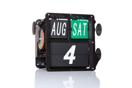 Mechanical calendar retro date 4 August, 2018 on isolated Coast Guard Day.