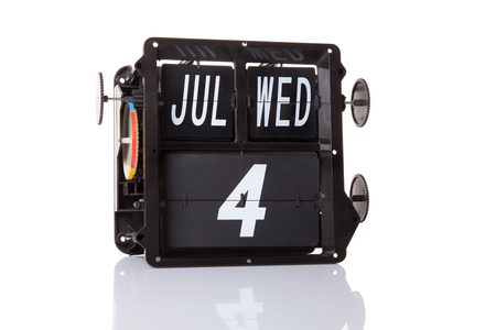 The mechanical calendar retro date 4 July, 2018 isolated Independence day USA.