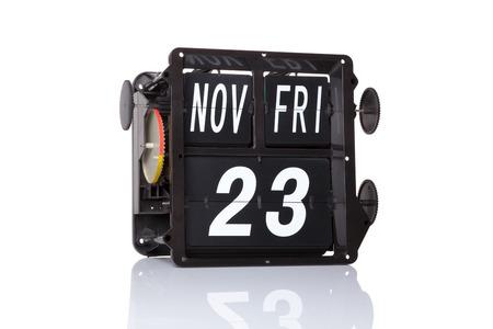 Mechanical calendar retro date 23 November, 2018 on isolated Black Friday. 스톡 콘텐츠