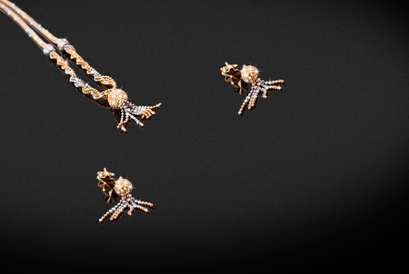 Yellow gold precious chain earrings with pendant octopus on black background. Good material for design jewelery.