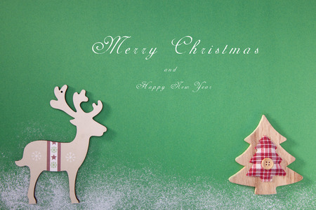 Greeting card with a Merry Christmas tree and snow, a symbol of the holiday, family togetherness. Happy New Year.