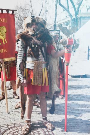 Odessa, Ukraine - March 2018 Roman legion empire soldiers old armor, swords, shields, banners Show. Editöryel