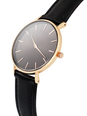 Classic women's gold watch with a black dial, leather strap, isolate on a white background. Isometric view.