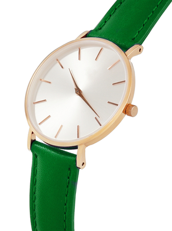 Classic women's gold watch with white dial, green leather strap, isolate on a white background. Isometric view.