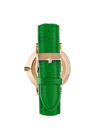 Classic women's gold watch with white dial, green leather strap, isolate on a white background. View back.