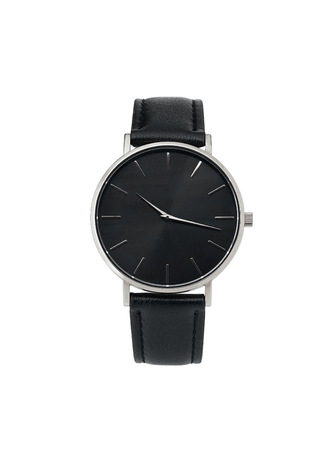 Classic womens Silver watch with a black dial, leather strap, isolate on a white Stock Photo