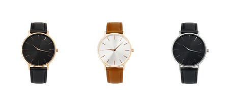 Classic women watch, clock with time leather strap, isolate on white