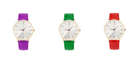 Classic women watch, clock with time leather strap, isolate on white Imagens