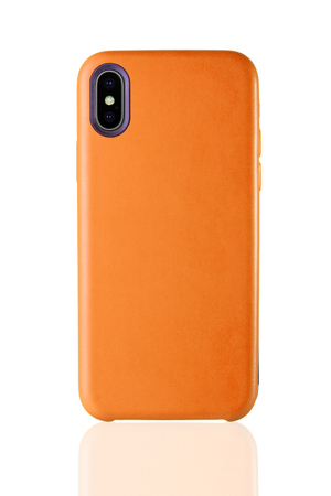 Orange phone leather case on white isolated