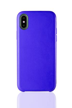 Niebieski skórzany futerał na telefon na białym tle Zdjęcie Seryjne