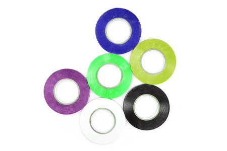 Set of sticky colorful electrical protection tape, circle pattern, good conceptual idea, white isolate background.