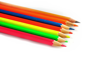 Colour pencils isolated on white  close up.