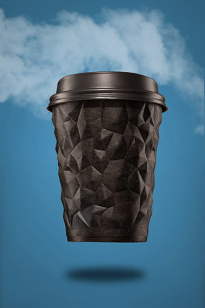 A cup of textured coffee geometry with a lid is black on a blue