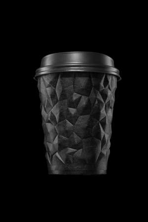 A cup of textured coffee geometry with a lid on black isolate.