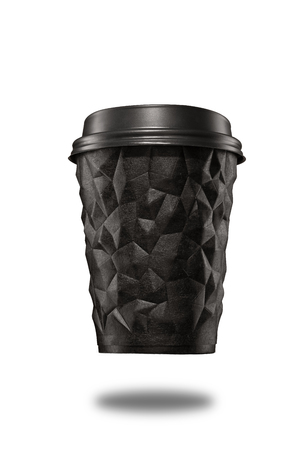 A cup of textured coffee geometry with a lid black on white isolate.