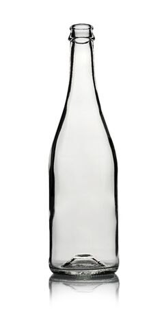 Empty glass bottle for alcoholic drinks or water on a white Standard-Bild