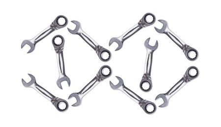 Pattern of Ratchet Wrenches, chromed metal, tool for fixing nuts and bolts. Zdjęcie Seryjne - 130954566
