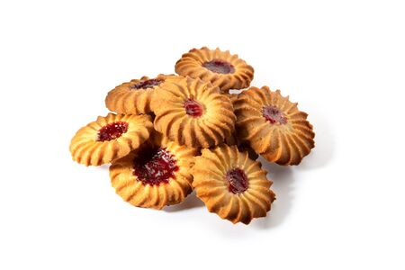Shortbread sweet cookies with cherry jam