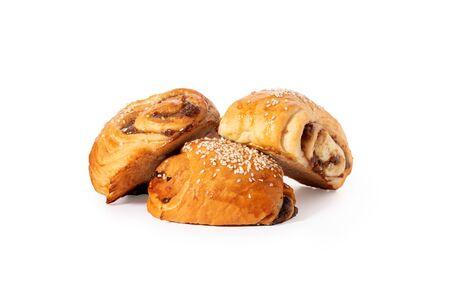 Sweet cookies classic french bun, baking for breakfast. Zdjęcie Seryjne - 130954585