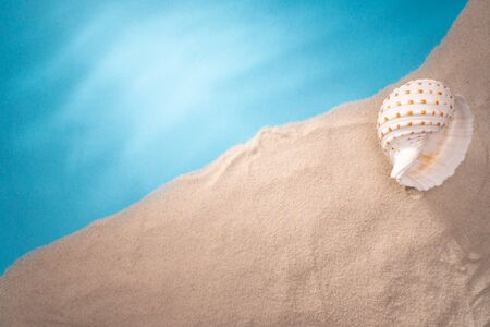 Sea shore, card for a travel agency, sand shell, blue ocean, sun vacation and relaxation. Zdjęcie Seryjne