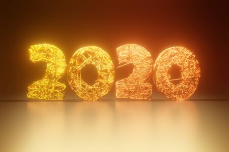2020 New Year golden numbers braided from wire. Creative concept for the holiday. Light effects. Stok Fotoğraf