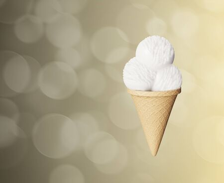 Highly detailed delicious balls  ice cream in a waffle cone Abstract colored background. Bokeh bubbles. 3d illustration