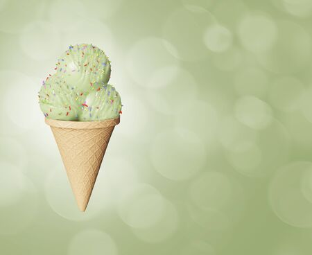 Highly detailed delicious balls pistachio ice cream in a waffle cone Abstract colored background. Bokeh bubbles. 3d illustration Zdjęcie Seryjne