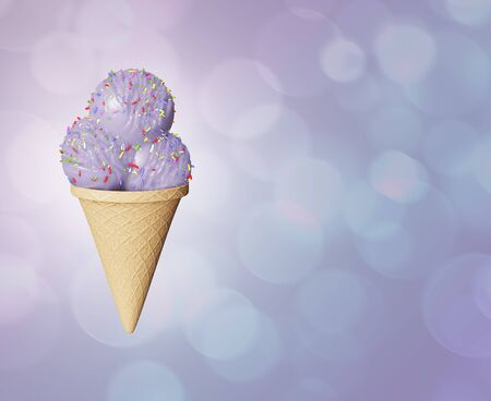 Highly detailed delicious balls blackberry and vanilla ice cream in a waffle cone  Abstract colored background. Bokeh bubbles. 3d illustration Zdjęcie Seryjne