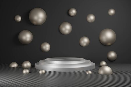 Podium for advertising banner bronze and silver. Minimalism, abstract geometric shapes and forms background 3D render.