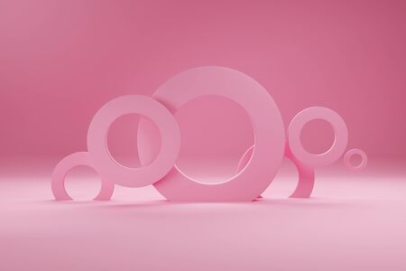 Rings of pink color, for banner or poster. Minimalism, abstract geometric shapes and forms background 3D render.