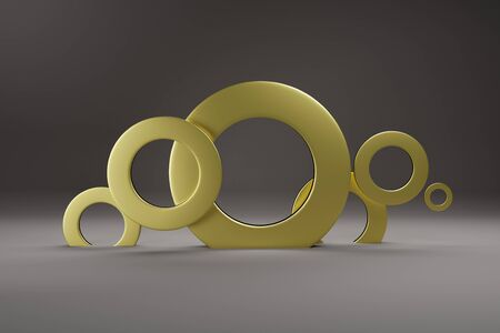 Rings of Gold color, for banner or poster. Minimalism, abstract geometric shapes and forms background 3D render.