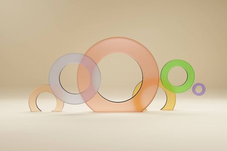 Rings multi-colored from glass, for a banner or a poster. Minimalism, abstract geometric shapes and forms background 3D render.