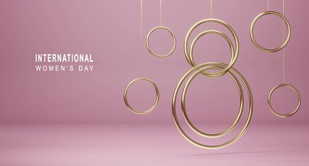 Happy International Women's Day background. Banner with golden decor elements 8 number 3D rendering. Symbol of the spring of March, greeting card design.