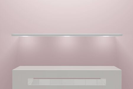 Empty pedestal on light pink. Front view of a minimal room interior concept. Empty product shelf standing background. 3D rendering.
