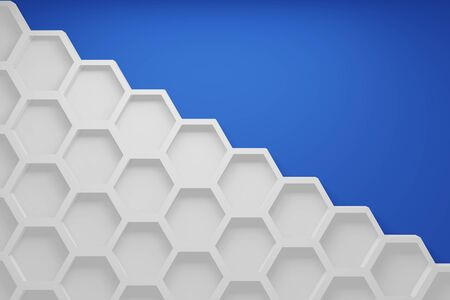 Empty hexagon shelves on blue. View from the front minimal interior concept. Empty product to show a constant background. Realistic 3D rendering.