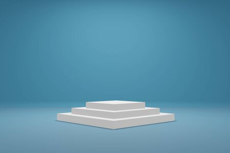 Empty podium or pedestal display on light blue. Front view minimal concept. Empty shelf product standing background. Realistic 3D rendering.