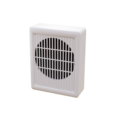 White wall speaker loudspeaker radio point warning.
