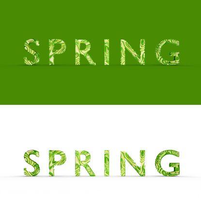 Tekst stylizowane słowo Wiosna, streszczenie dobre tekstury, jest cień. Dwa słowa, jedno na kolorowym tle, drugie na białym izolacie. Fotorealistyczne renderowanie 3D.