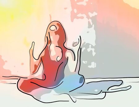 Pop art abstract drawing portrait of a young girl meditating yoga, on a colored background. Modern minimalism.