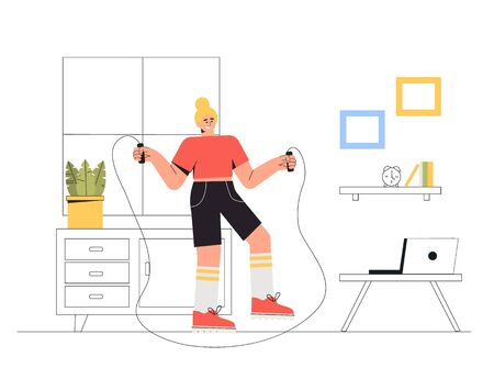 Woman doing workout indoor - sport exercise, train at home. A girl jumps on a rope in living room with cozy interior. Vector illustration in flat style.