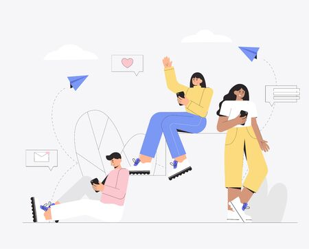 Group of people use mobile smartphone for chatting in social media. Group of friends correspond with each other on social networks. Modern vector illustration for advertising, banner.