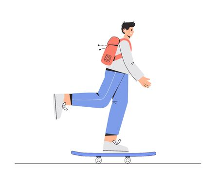 Young happy smiling boy skateboarder is riding on a skateboard and listing music . Vector illustration in flat style on white background.