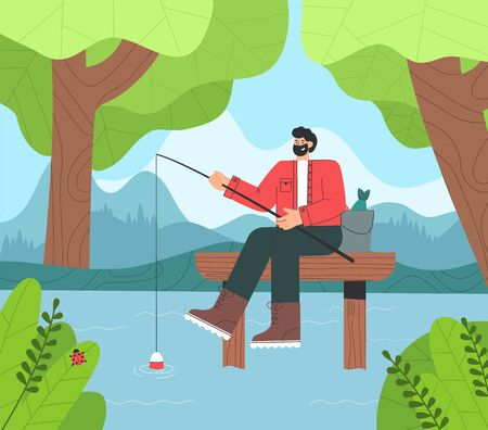 Happy fisherman sitting on wooden bridge with rod and bucket. Forest, nature, mountains, lake on background.