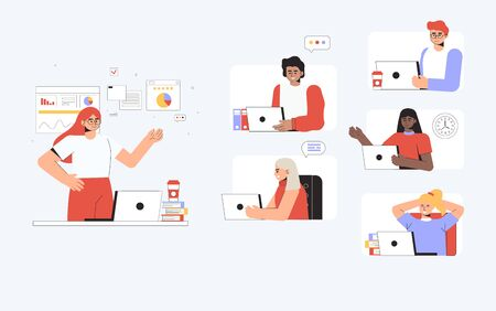 Online education concept in flat style vector illustration. The class is studying using video calling aps with teacher. Online training courses, distance education.