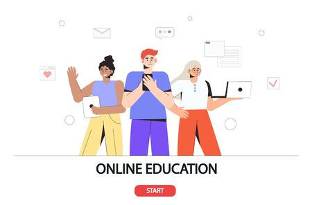 Online education concept for banner and website. Landing page template. Young students stand and hold laptops and smartphones. Ilustração