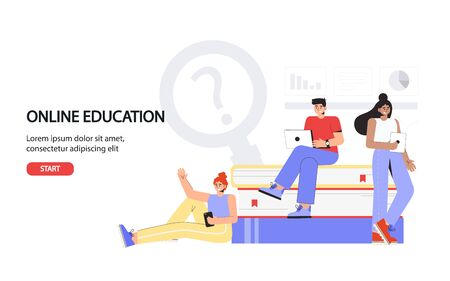 Online education concept for banner and website. Landing page template. Young students stand near large books and hold laptops and smartphones. 일러스트